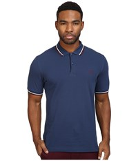 Fred Perry Slim Fit Twin Tipped Polo Service Blue Snow White Port Men's Short Sleeve Knit
