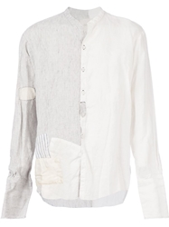Greg Lauren Panelled Patchwork Shirt White
