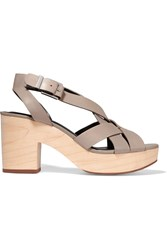 Rebecca Minkoff Jessica Leather And Wood Sandals Brown