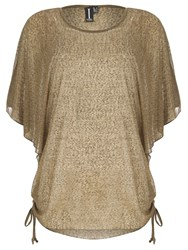 Izabel London Sheer Oversized Batwing Top Khaki