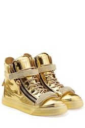Giuseppe Zanotti Metallic Leather High Top Sneakers Gold