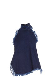 Marques Almeida Denim Buckle Neck Top Blue