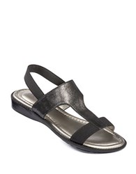 Me Too Zoey Metallic Leather Sandals Black