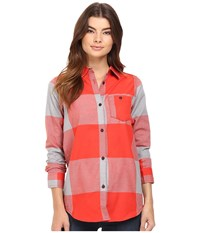 Burton Lagoon Long Sleeve Woven Coral Large Buffalo Women's Long Sleeve Button Up Pink