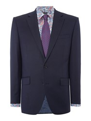 New And Lingwood Forthold Textured Suit Jacket Navy