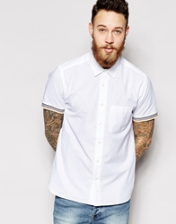 Ymc Shirt With Striped Cuff Short Sleeves White