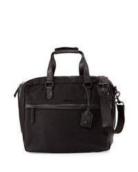 Cole Haan Leather Trim Canvas Messenger Bag Black