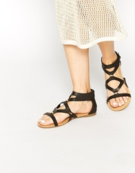 London Rebel Roman Gladiator Sandals Black