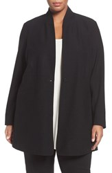 Eileen Fisher Plus Size Women's Stand Collar Stretch Crepe Jacket