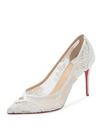 Christian Louboutin Neoalto Lace 85Mm Red Sole Pump White Version Latte