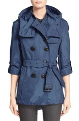 Women's Burberry Brit 'Knightsdale' Belted Drop Tail Hooded Trench Coat Ink Blue