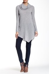 Cullen Seam Detail Asymmetrical Cowl Neck Cashmere Sweater Gray