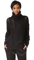 Dkny Oversized Turtleneck Intarsia Sweater Black