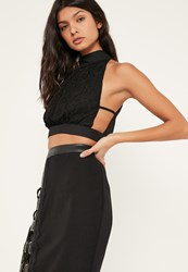 Missguided Black Lace Front High Neck Tie Back Crop Top