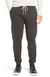 Men's Michael Stars French Terry Knit Jogger Pants With Raw Edge Details Charcoal