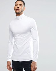 Asos Extreme Muscle Long Sleeve T Shirt With Roll Neck In White White