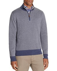 Brooks Brothers Herringbone Cotton Cashmere Half Zip Sweater Open Blue