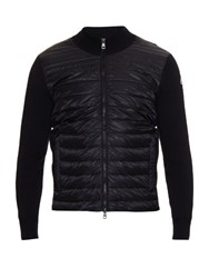 Moncler Quilted Down And Cotton Knit Jacket Navy