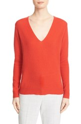 Theory Women's 'Adrianna' V Neck Cashmere Pullover Paprika