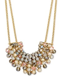 Inc International Concepts Two Tone Double Strand Bead Cluster Statement Necklace Only At Macy's Gold