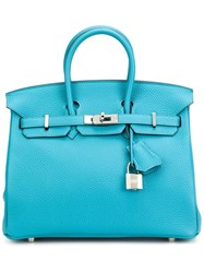 Hermes Vintage Small 'Clemence Birkin' Tote Blue