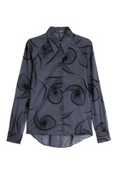 Agnona Cotton Shirt With Velvet Applique Blue