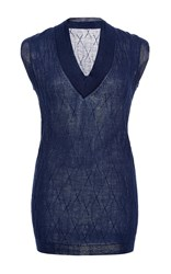 Hensely Double Collar Sweater Vest Blue