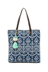 T Shirt And Jeans Woven Pom Pom Tote Blue