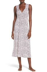Oscar De La Renta Women's Sleepwear Ruched Nightgown Light Pink Ground Animal Print