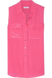 Equipment Slim Signature Washed Silk Top Pink