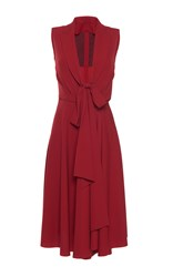 Paule Ka Gabardine A Line Fluid Lapel V Neck Dress With Tie Red