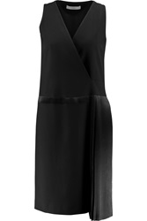 Pringle Pleated Crepe And Silk Satin Dress Black