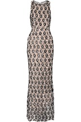 Alice Olivia Saba Embellished Lace Gown Neutral
