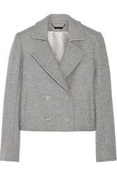 Wes Gordon Cropped Double Breasted Wool Blend Blazer Anthracite