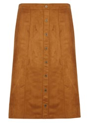 Evans Brown Tan Suedette Midi Skirt Beige