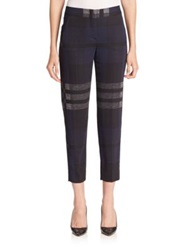 Sportmax Giudy Cropped Plaid Pants Navy Grey