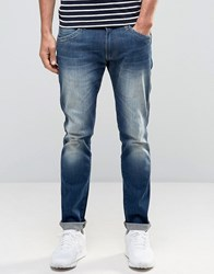 Wrangler Skinny Low Rise Jean In Distant Relation Wash Blue