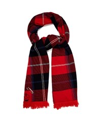 Queene And Belle Mackenzie Plaid Cashmere Wrap Red Multi