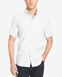 Izod Men's Crosshatch Short Sleeve Shirt Bright White