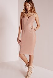 Missguided Faux Leather Cross Strap Midi Dress Rose Red
