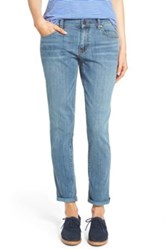 Halogen Distressed Girlfriend Jeans Petite Blue