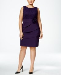 Connected Plus Size Lace Tiered Rosette Dress Eggplant
