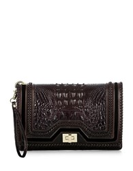 Brahmin Lily Leather Clutch Dark Cocoa