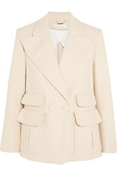 Chloe Double Breasted Woven Stretch Cotton Blazer White