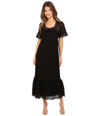 Red Valentino Cotton Yarn Lingerie Stiching And Macrame Riboons Dress Black