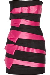 Balmain Tiered Canvas And Satin Strapless Mini Dress Black