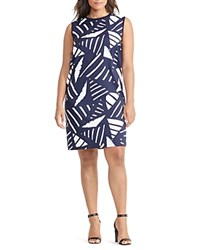 Ralph Lauren Plus Geo Print Mixed Media Dress Navy
