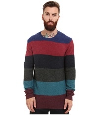 French Connection Felted Stripe Knits Blue Depths Rhododendron Men's Sweater Multi