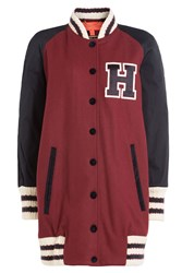 Hilfiger Collection Long Wool Varsity Jacket Red