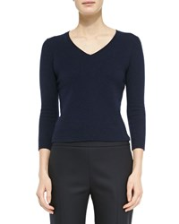 The Row Wool Cashmere Fitted V Neck Sweater Navy Blue